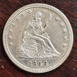 1844 LIBERTY SEATED QUARTER   UNC  9957