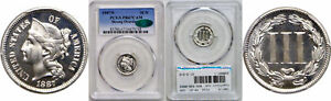 1887/6 NICKEL THREE CENT PIECE PCGS PR 67 CAM CAC STRONG OVERDATE