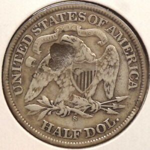 1868 S SEATED LIBERTY HALF DOLLAR  REVERSE PLANCHET FLAW STRUCK THROUGH