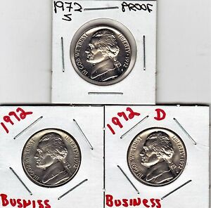 1972  P  D  & S  JEFFERSON NICKELS IN BU AND PROOF CONDITION STK4   3 COINS