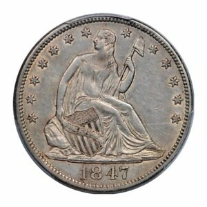 1847 50C WB 101 LIBERTY SEATED HALF DOLLAR PCGS AU 50 ABOUT UNCIRCULATED