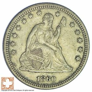 1860 SEATED LIBERTY SILVER QUARTER  606
