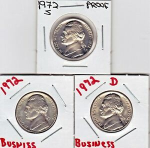 1972  P  D  & S  JEFFERSON NICKELS IN BU AND PROOF CONDITION STK1   3 COINS