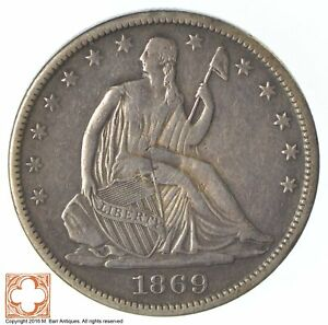 1869 S SEATED LIBERTY SILVER HALF DOLLAR  XB35