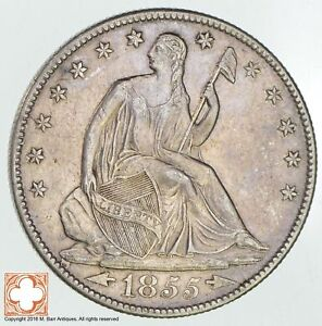 1855 O SEATED LIBERTY SILVER HALF DOLLAR  0459
