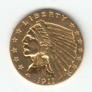 1911 $2 1/2 INDIAN HEAD GOLD COIN QUARTER EAGLE NICE