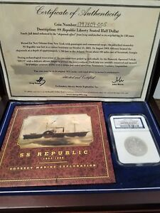 Click now to see the BUY IT NOW Price! NGC 1859 O HALF DOLLAR SHIPWRECK EFFECT SS REPUBLIC 50C SEATED LIBERTY W BOX COA