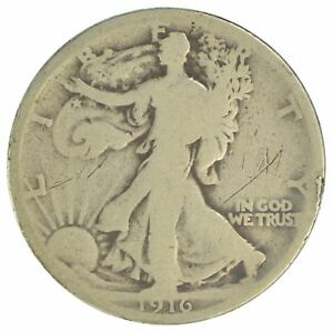 1916 WALKING LIBERTY HALF DOLLAR 90  SILVER  YB84