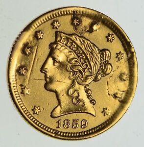1859 $2.50 LIBERTY HEAD GOLD QUARTER EAGLE   OLD REVERSE CIRCULATED  4895