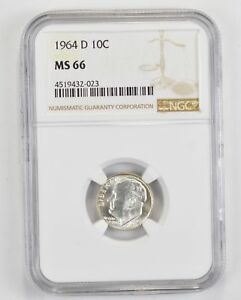 1964 D ROOSEVELT SILVER DIME   TONED   NGC GRADED MS66  1371