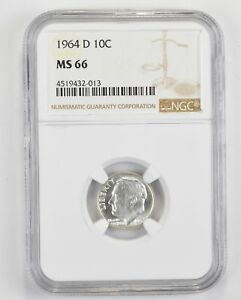 1964 D ROOSEVELT SILVER DIME   TONED   NGC GRADED MS66  1375