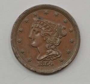 1854 BRAIDED HAIR HALF CENT  Q10