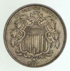 1867 SHIELD NICKEL   WITHOUT RAYS   RPD F 26 CIRCULATED  4996