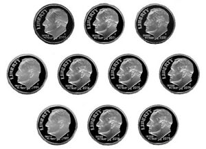 SILVER PROOF ROOSEVELT  DIMES   2000 2009  10 NICE CAMEOS PROOFS  6/19