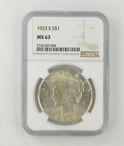 MS63 1923 S PEACE SILVER DOLLAR   NGC GRADED  8524