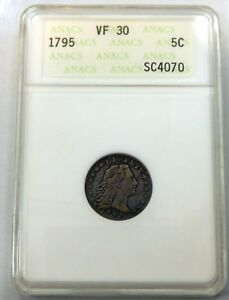 1795 FLOWING HAIR HALF DIME   ANACS CERTIFIED VF 30