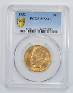 MS64  1932 $10.00 INDIAN HEAD GOLD EAGLE   PCGS GRADED  9564