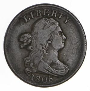 1808 DRAPED BUST HALF CENT   CIRCULATED  0681