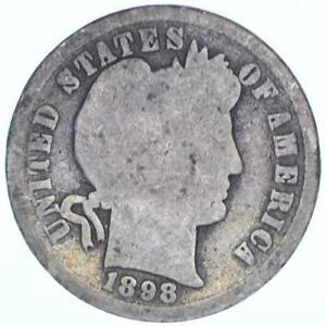 1898 BARBER DIME 90  SILVER ABOUT GOOD AG