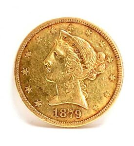 1879 $5 GOLD HALF EAGLE LIBERTY HEAD COIN13 STARS WITH MOTTO