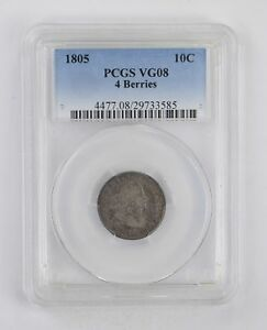 VG08 1805 DRAPED BUST DIME   4 BERRIES   PCGS GRADED  2863