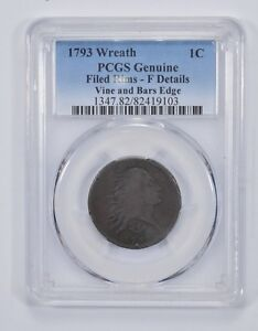 1793 FLOWING HAIR LARGE CENT   WREATH REVERSE   PCGS GRADED  9805