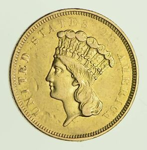 1854 O INDIAN PRINCESS HEAD GOLD THREE DOLLARS   CIRCULATED  9748