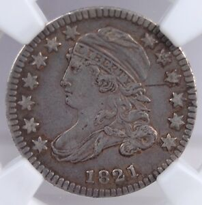 1821 SMALL DATE CAPPED BUST DIME NGC VF DETAILS OBV SCRATCH LOOKS GREAT