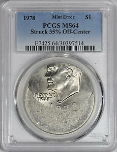 Click now to see the BUY IT NOW Price! 1978 EISENHOWER DOLLAR MINT ERROR PCGS MS64    OFF CENTER MINT ERROR