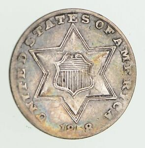 1858 SILVER THREE CENT PIECE   CIRCULATED  7494