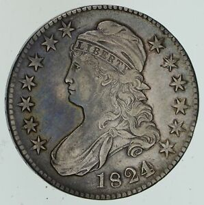 1824 CAPPED BUST HALF DOLLAR   VARIOUS DATES   CIRCULATED  4565
