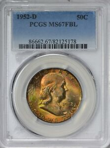 Click now to see the BUY IT NOW Price! 1952 D FRANKLIN HALF DOLLAR PCGS MS67 FULL BELL LINES   TOP POP   TONING