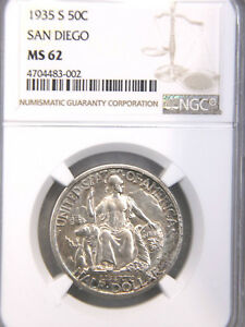 1935 S SAN DIEGO HALF DOLLAR NGC MS62 GOLDEN WHITE WITH STRONG LUSTER PQ 736F
