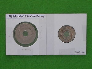 FIJI ISLANDS REPUBLIC   1954 PENNY HALFPENNY COLONIAL ERA PREDECIMAL COINS.