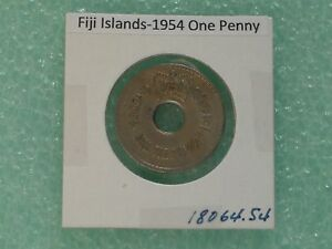 FIJI ISLANDS   1954 PENNY   COLONIAL ERA   PREDECIMAL COIN.