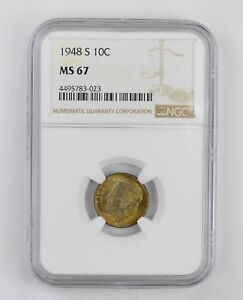 MS67 1948 S ROOSEVELT DIME   NGC GRADED   BEAUTIFUL TONE  2878