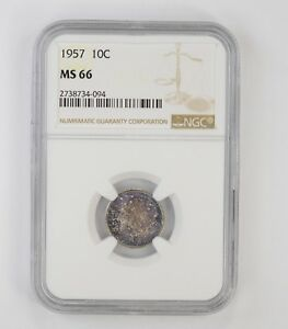 MS66 1957 ROOSEVELT DIME   NGC TONED  6653