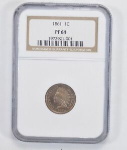 PF64 1861 INDIAN HEAD CENT   NGC GRADED  2059