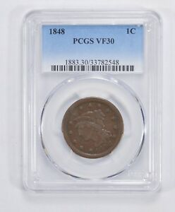 VF30 1848 BRAIDED HAIR LARGE CENT   PCGS GRADED  5123