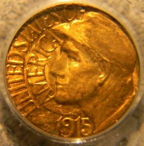 1915 S PAN PAC GOLD  DOLLAR  $1  COMMEMORATIVE PCGS MS 64 INCREDIBLE TONING