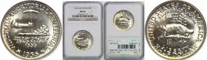 1936 WISCONSIN SILVER COMMEMORATIVE NGC MS 66
