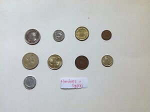 LOT OF 9 DIFFERENT HONDURAS & CYPRUS COINS  WORLD COIN LOT COLLECTION LBS POUNDS