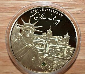 2014 PROOF   STATUE OF LIBERTY SYMBOL OF FREEDOM 24 KT GOLD LAYERED W/CRYSTAL