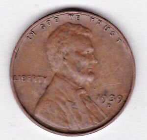1939 D  LINCOLN CENT IN FINE CONDITION  STK Z4