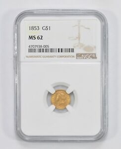 MS62 1853 INDIAN PRINCESS HEAD GOLD DOLLAR   GRADED BY NGC  6917