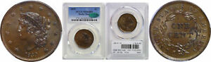 1839 LARGE CENT PCGS MS 64 BN CAC BOOBY HEAD
