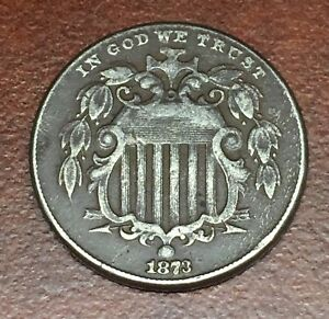 1873 SHIELD NICKEL OLD 5C COIN FROM COLLECTION SHEILD US OPEN CLOSED
