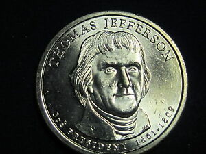 2007 D  THOMAS JEFFERSON PRESIDENTIAL DOLLAR COIN UNCIRCULATED
