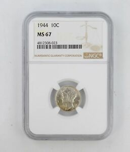 MS67 1944 MERCURY DIME   NGC GRADED  8384