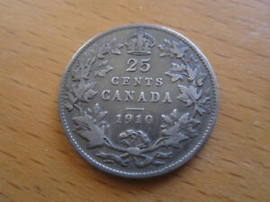 1910 CANADA 25 CENT    TONED KING EDWARD VII SILVER QUARTER